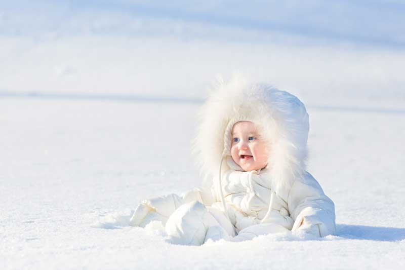 baby sitting in the snow with a snowsuit