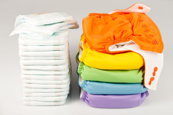 disposable diapers or cloth diapers side by side