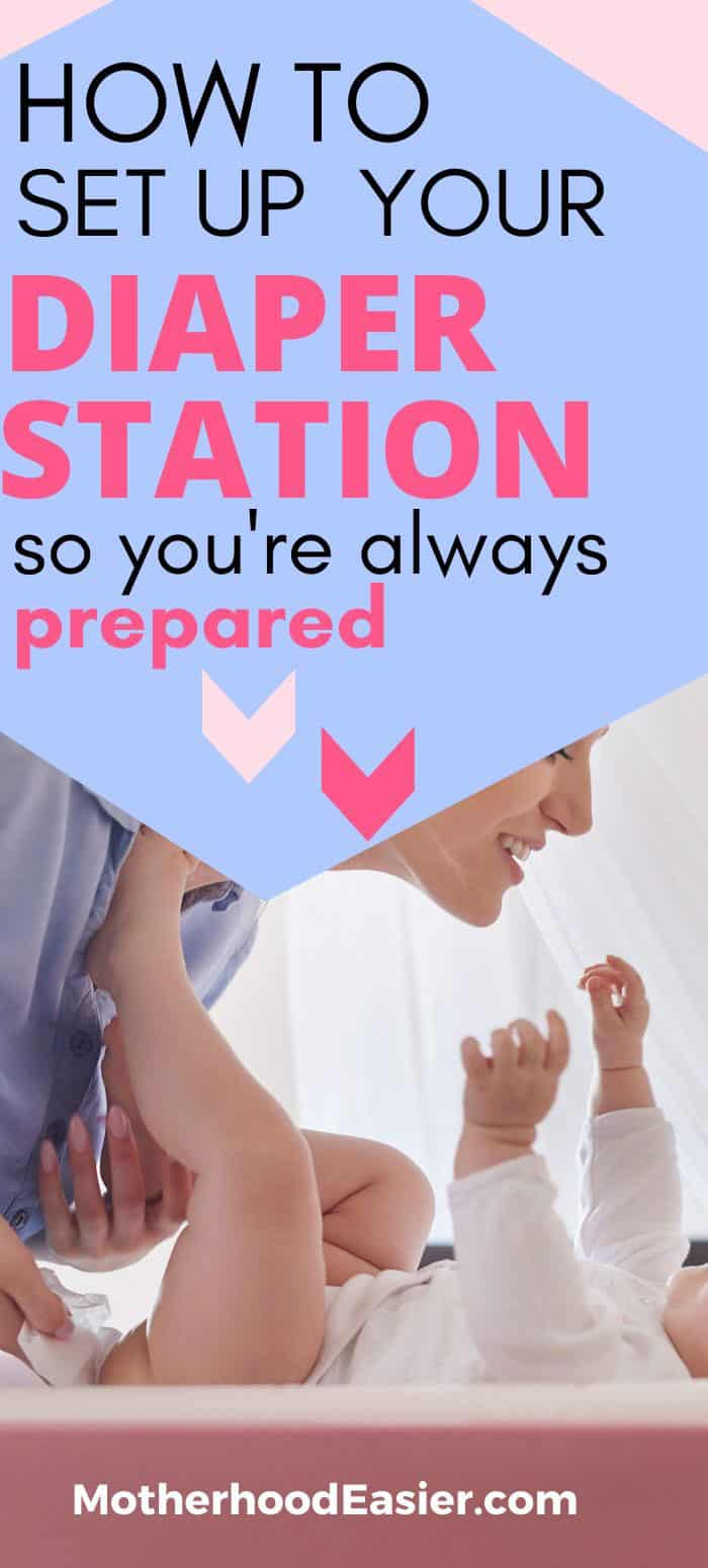 woman changing baby--how to set up a diaper changing station in your house