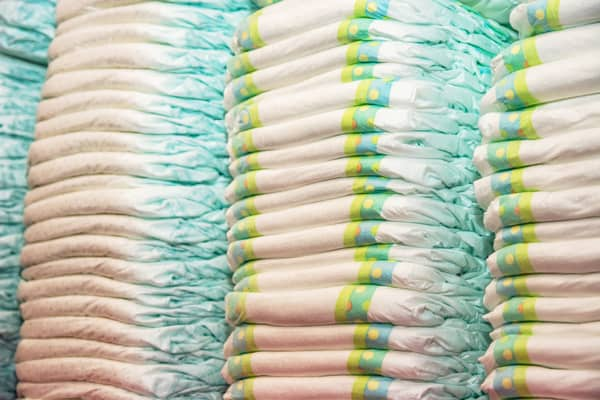 stock up on diapers before hand--piles of diapers