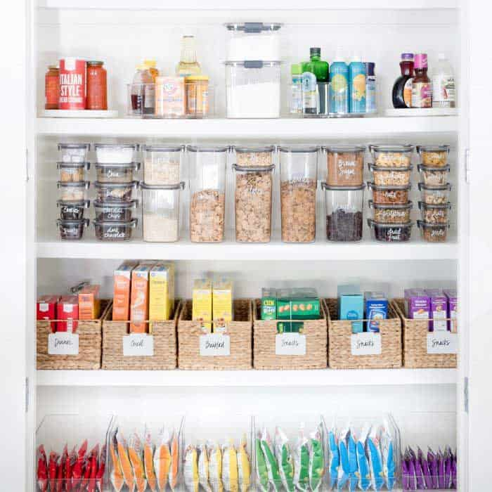 how to get your house organized for baby-- organize your pantry by the home edit