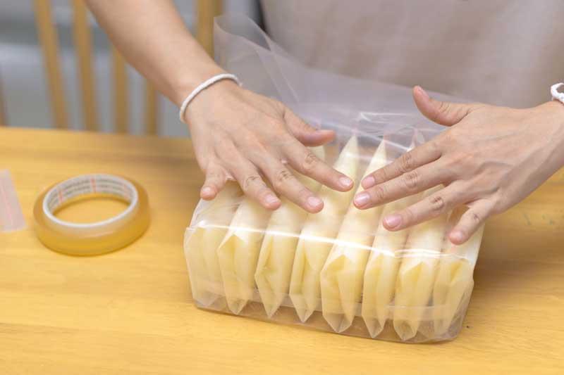 frozen breastmilk in plastic bags
