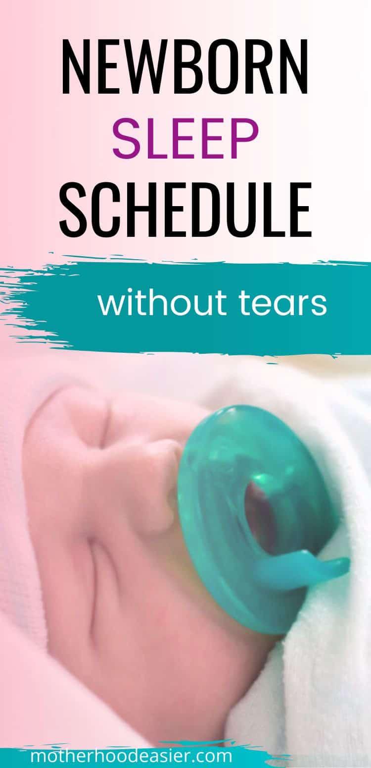 newborn sleep schedule with baby sucking pacifier